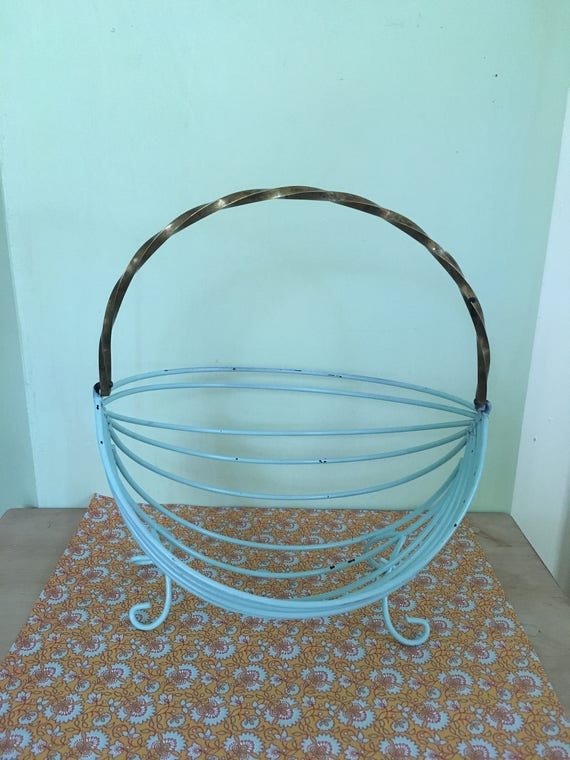 Vintage Robins Egg Blue Wire Banana Basket with Brass Handle