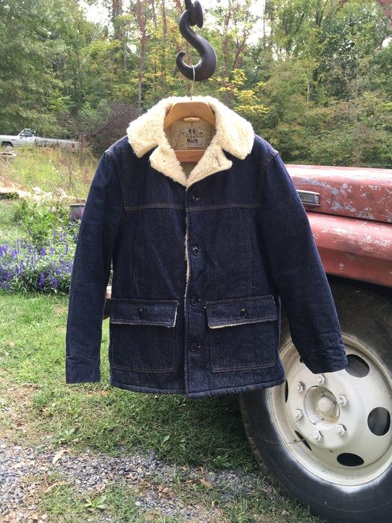 Vintage Montgomery Wards Denim Faux Sherpa Chore J