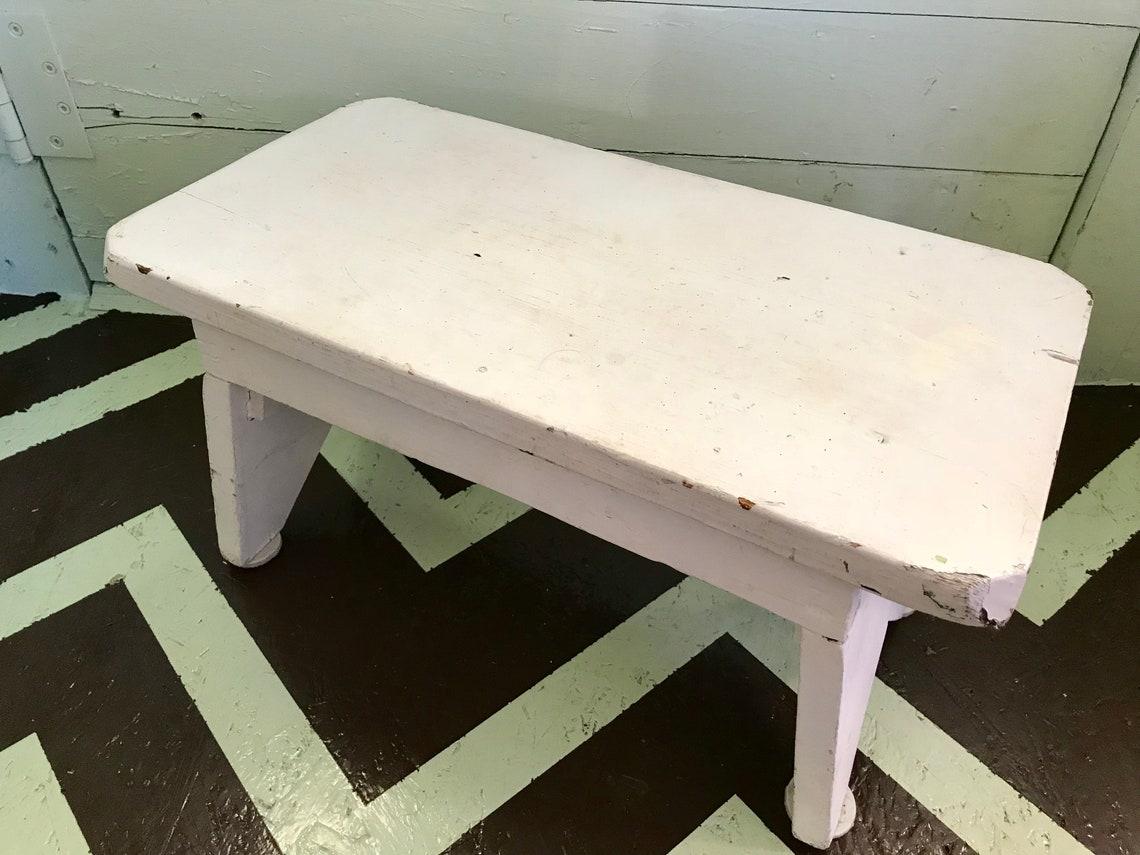 Vintage White Chippy Farm Stool Farmhouse Chic Wooden Footstool