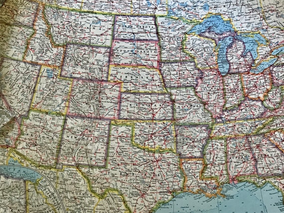 Vintage National Geographic Map The United States Copyright Etsy - National-geographic-us-map