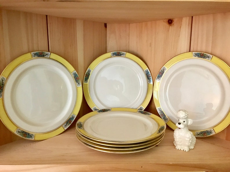 Vintage Lenox China Art Deco Luncheon Plates Set of Seven Plates Green Stamp Made Exclusively for Hutzler Bros Baltimore Collectible Lenox