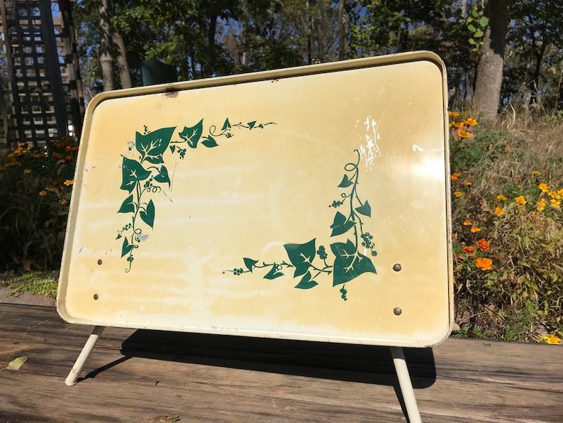 Vintage Metal Tin Tilting Lap Tray Bed Tray Ivy Graphics Retro Folding Tray