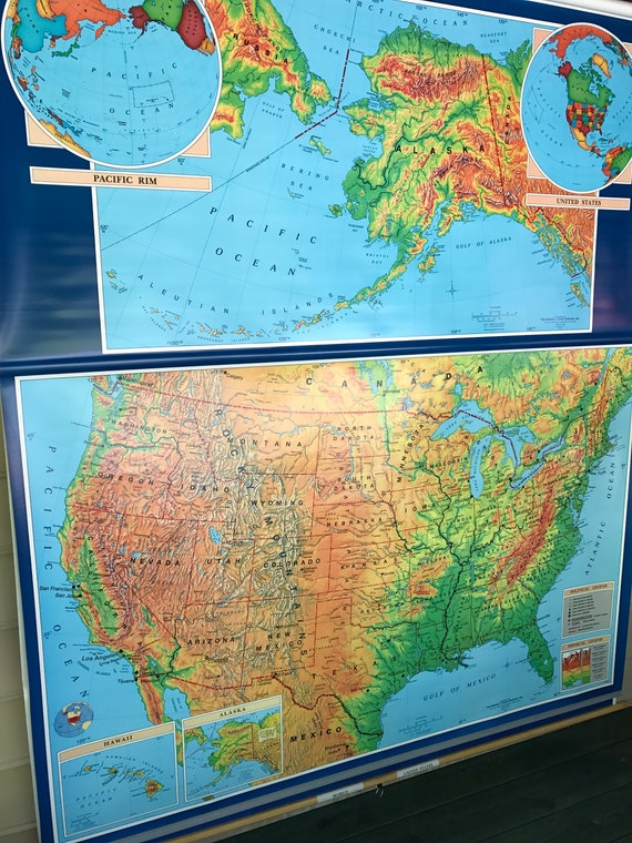 World Map 50 States.Vintage Cram United States And World Map Combo Pull Down Etsy