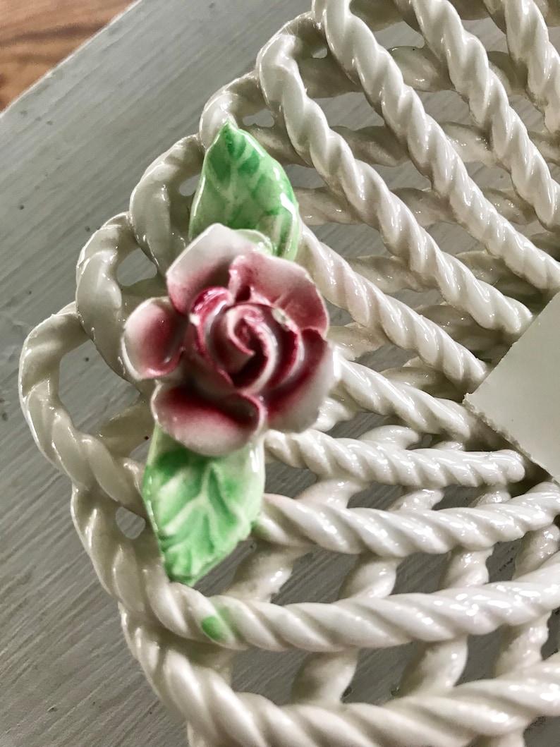 Vintage Ceramic Basket Weave Trinket Dish Pink Rose Decor Made in Spain