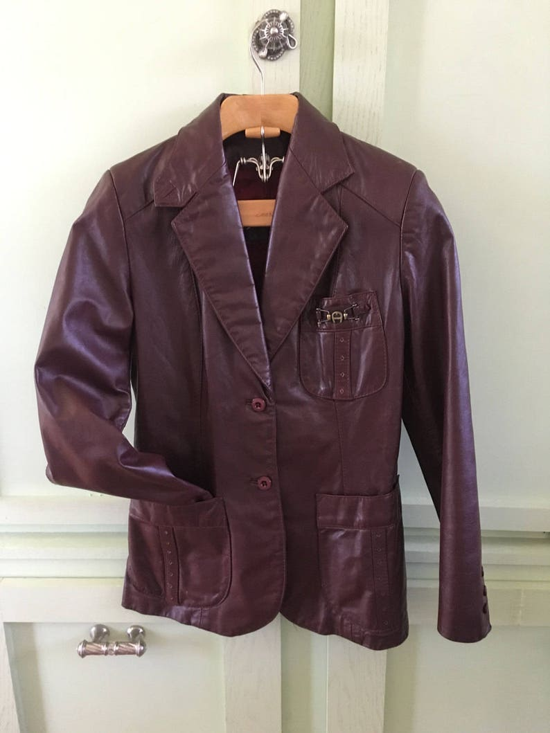1e44b1db0 Vintage Etienne Aigner Oxblood Leather Blazer Jacket Fitted Leather Jacket  Ladies Size 8 Seventies Chic Women's Outerwear