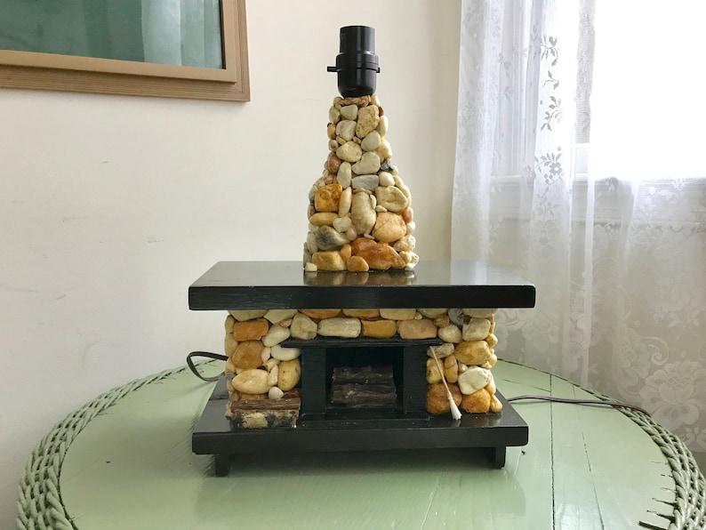 Vintage Stone Fireplace Table Lamp Handmade Folk Art Rustic Etsy