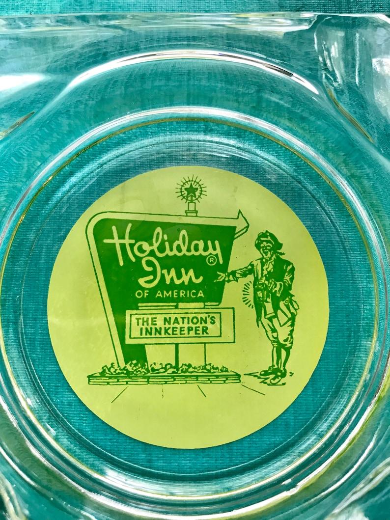 Vintage Holiday Inn Glass Ashtrays Set Of Two Retro Advertisement Hotel Memorabilia