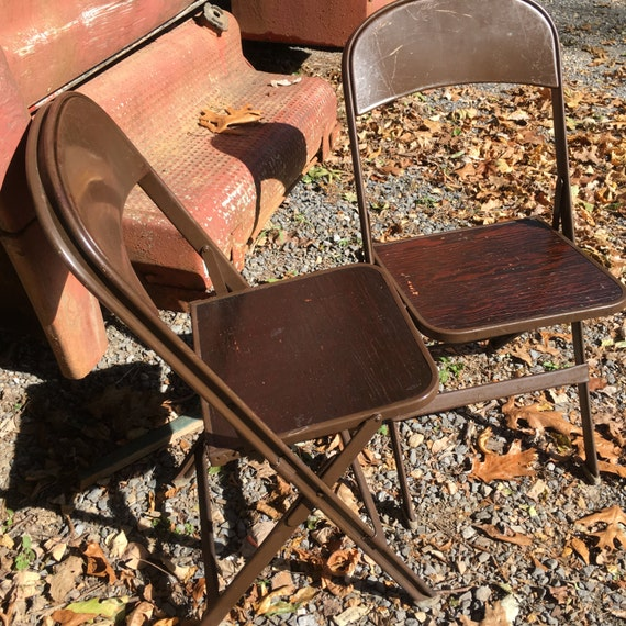 Super Vintage Metal Folding Chairs With Wood Seats Clarin Mfg Co Chicago Illinois Made In Usa Steampunk Chic Mancave Decor Bralicious Painted Fabric Chair Ideas Braliciousco