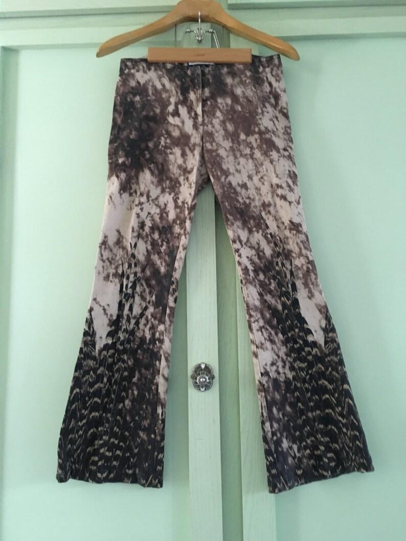Vintage Solo Paris Jeans Ladies 34 Tie Dye Feather Motif BohoChic Hippie Chic Vintage Jeans