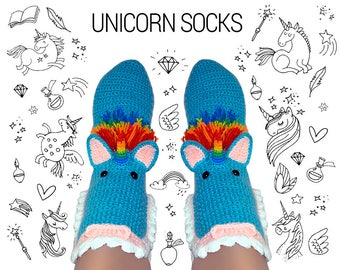 Crochet Unicorn Slippers Socks / Funny Warm Home Shoes / Adult size in 2 colors
