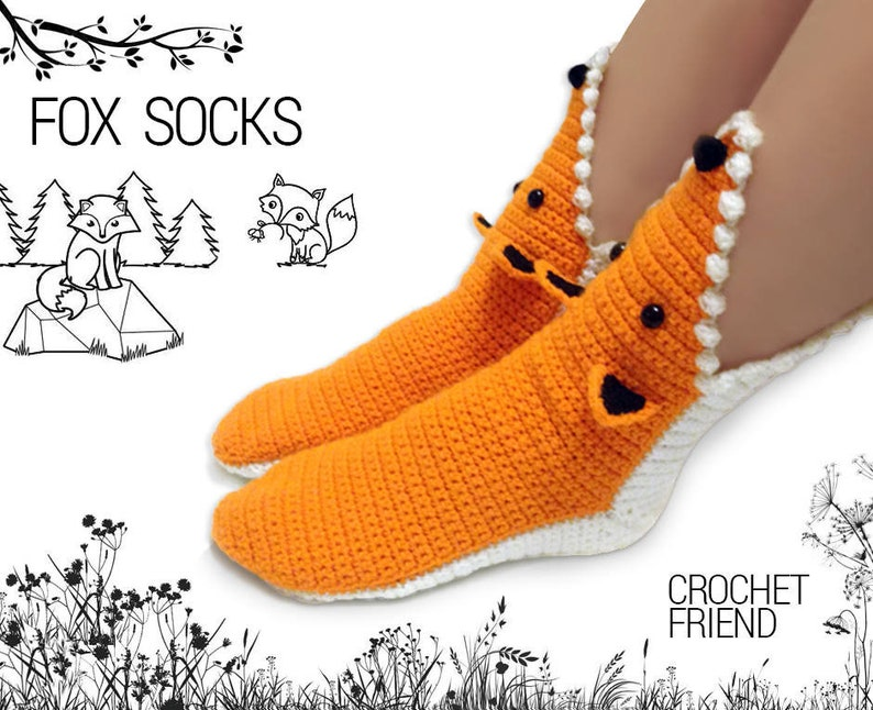 46212d8c591d6 Crochet Fox Slippers Socks / Unisex Funny Warm Home Shoes / Adult size