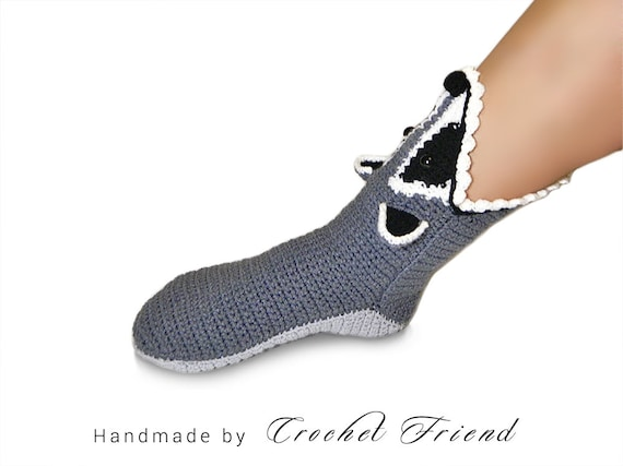 chaussettes dr Accueil Racoon chaud le Crochet adulte taille chaussures unisexe 5TPgWTq