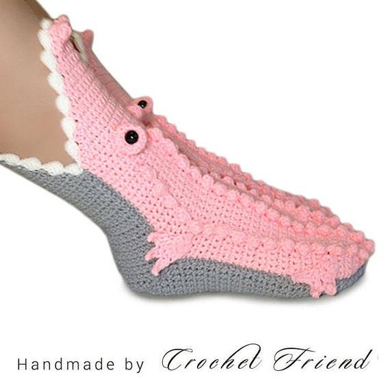 Krokodil Alligator Hausschuhe Socken Häkeln Unisex Lustige Etsy