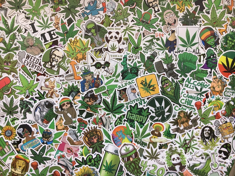cannabis stickers cool ganja Lot of weed stickers hemp leaves cannabis leaves funny drawings and characters fun