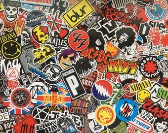 Lot of stickers rock bands, music, hardrock, metal, punk, music band, rock stickers