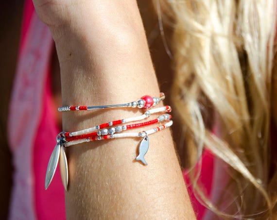 Manchette de 3 Bracelets JULIS/CYANE/PTITESARDINE Blanc et rouge