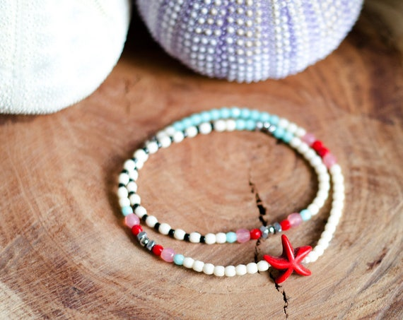 Bracelet FRANCINE Starfish - Beaded wrap bracelet, double turn