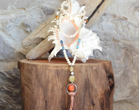 Necklace OMBELLE - Glass beads and semiprecious stones