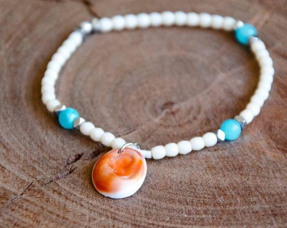 Bracelet LOTIS blanc et bleu