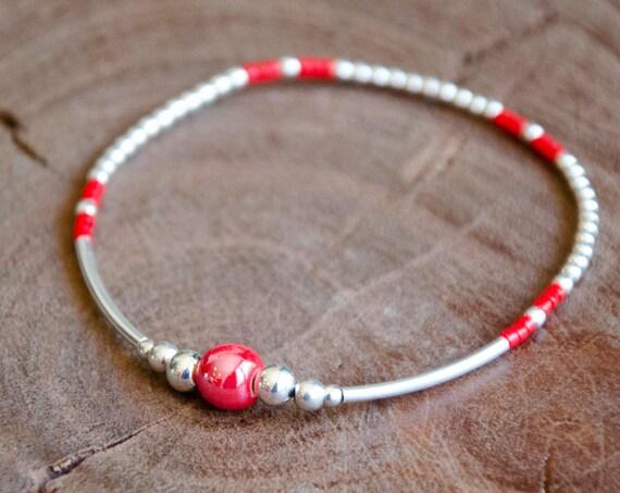 Bracelet JULIS rouge et Argent 925