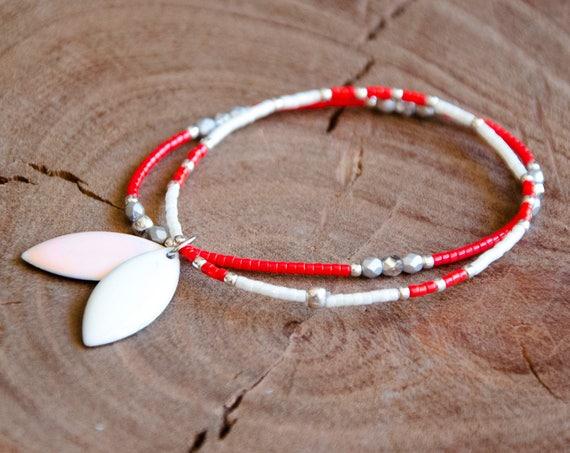 Bracelet CYANE blanc, rouge et Argent 925