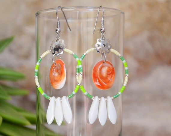 Green, pearly & seal shell Earring hoops creole - Eye of Santa Lucia