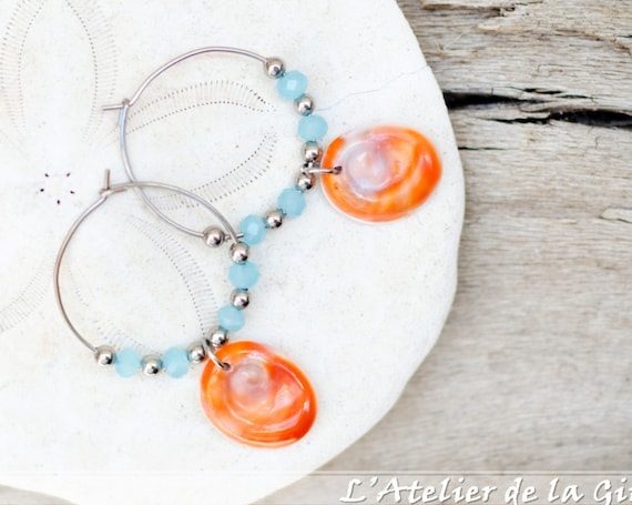 Blue, orange, silver & seal shell Earring hoops creole - Eye of Santa Lucia