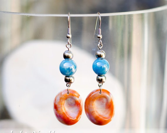 Blue & seal shell dangle earrings hook - Eye of Saint Lucia