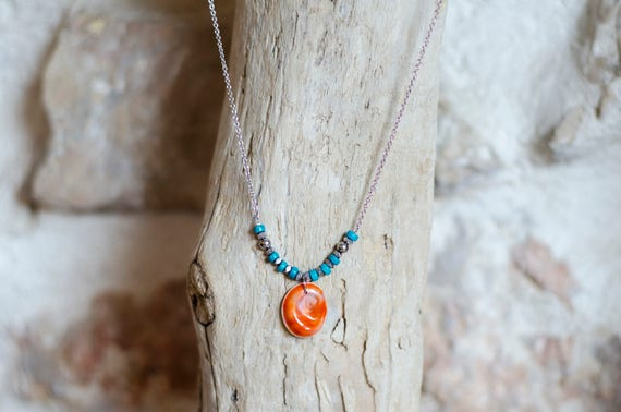 "Necklace CERIANTHUS turquoise - Seal shell ""Eye of Santa Lucia"" and turquoise beads"