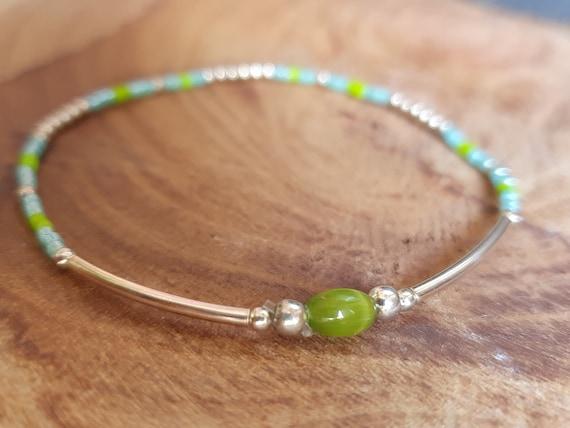 Bracelet JULIS Green and 925 Sterling Silver - Beaded bracelet