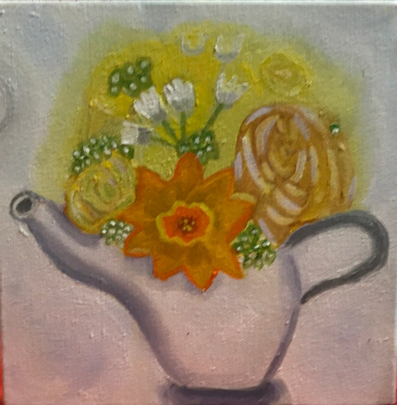 Teapot with daffodils and roses