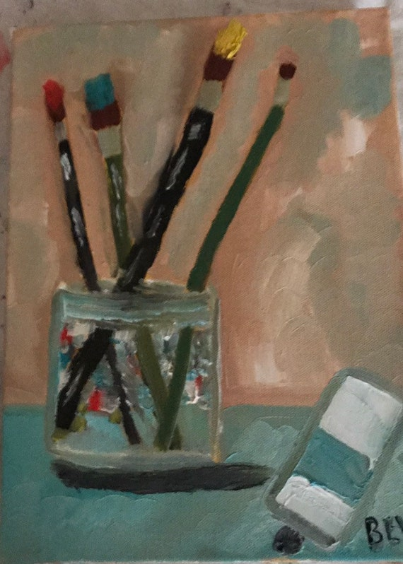 "Paint brushes 8 x 10"" 1 1/2""gallery wrapped canvas"