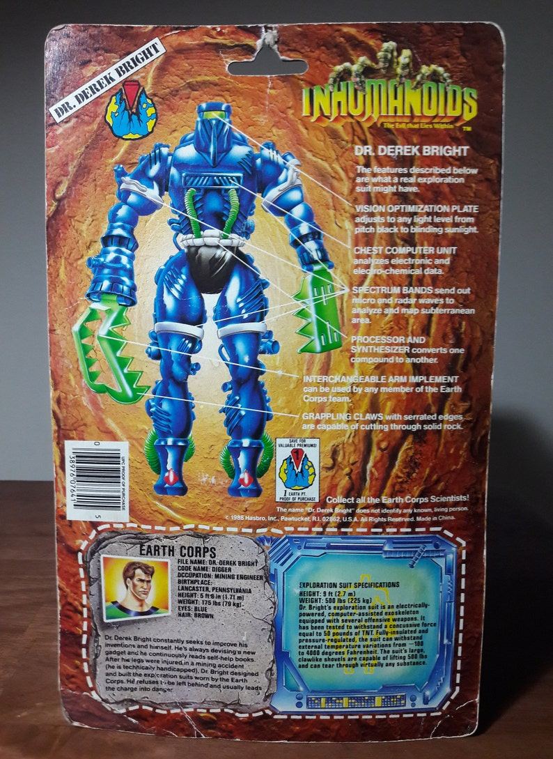 Inhumanoids Digger Vintage Action Figure - 1986 dr derek bright hasbro 80s  toy 1980s tv show cartoon monster fighters blue armor on card