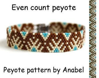 Easy Bracelet Pattern Even Count Peyote Pattern For