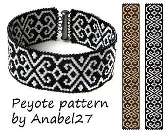 Black & White peyote pattern, bead pattern #29, beading pattern, beaded cuff pattern, peyote cuff pattern, peyote bracelet, pdf pattern
