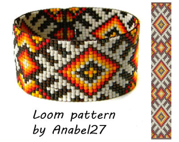 Bead Loom Pattern For Bracelet Delica Seed Bead Pattern Ethnic Etsy Interesting Seed Bead Patterns