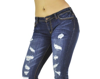 Poetic Justice Curvy Women's Joie Destroyed Stretch Denim Skinny Hipster Jeans