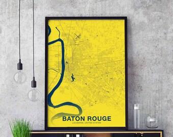 Baton rouge map | Etsy