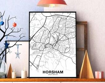 Horsham etsy horsham great britain uk map poster black white wall decor design modern motto swiss scandinavian minimal nordic housewarming travel bedroom junglespirit Gallery
