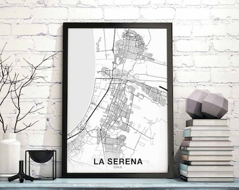 LA SERENA Chile Map Poster Black White Wall Decor Design Modern  Scandinavian Minimal Nordic Housewarming Travel Bedroom