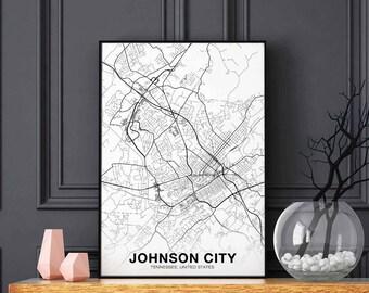 Johnson City Tennessee Tn Usa Map Poster Black White Wall Decor Design Modern Motto Scandinavian Minimal Nordic Housewarming Travel Bedroom