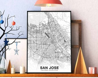 San Jose Ca Map Etsy