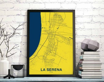 LA SERENA Chile Map Poster Color Wall Decor Design Modern Swiss  Scandinavian Minimal Nordic Housewarming Travel Bedroom