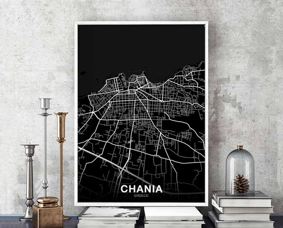 CHANIA Greece map poster black white wall decor design modern minimal  nordic housewarming travel bedroom art print