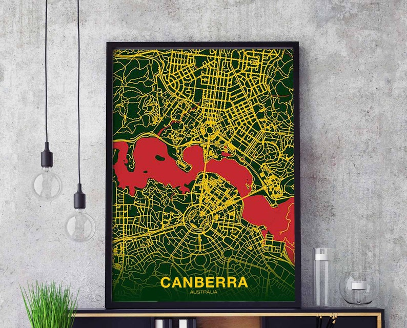Australia Map Poster.Canaberra Australia Map Poster Color Wall Decor Design Modern Etsy