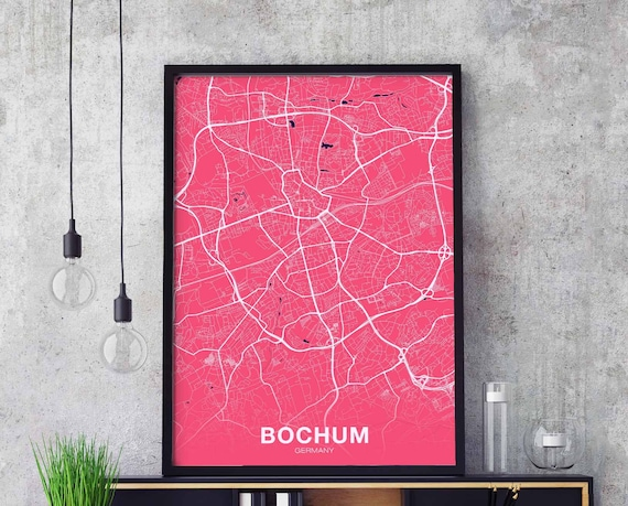 Bochum Germany Map Poster Color Wall Decor Design Modern Motto Etsy