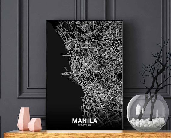Manila Philippines Map Poster Black White Wall Decor Design Modern Motto Swiss Scandinavian Minimal Nordic Housewarming Travel Bedroom by Etsy