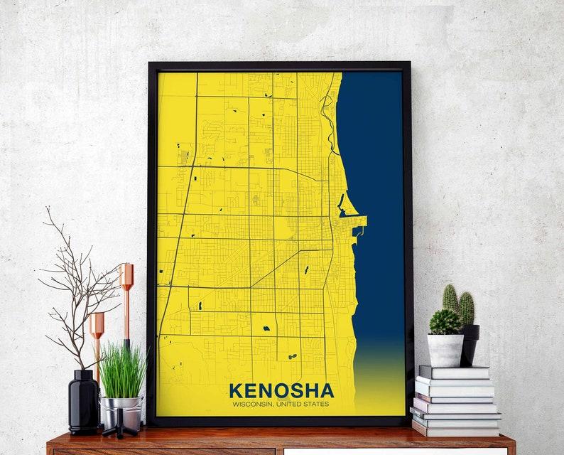 KENOSHA Wisconsin WI USA poster color wall decor design modern swiss on