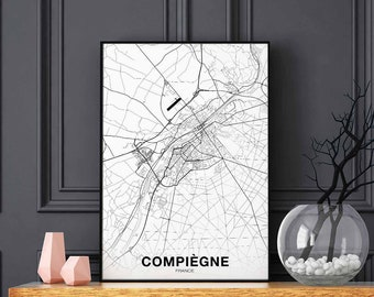 COMPIEGNE France map poster black white wall decor design modern swiss scandinavian minimal nordic housewarming travel bedroom