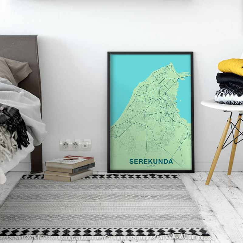 SEREKUNDA Gambia map poster color wall decor design modern ... on map of wadi rum, map of bijilo, map of tikal national park, map of manhattan island, map of dangriga, map of djenne, map of banjul, map of lagos, map of charlotte amalie, map of chenonceau, map of gambia,